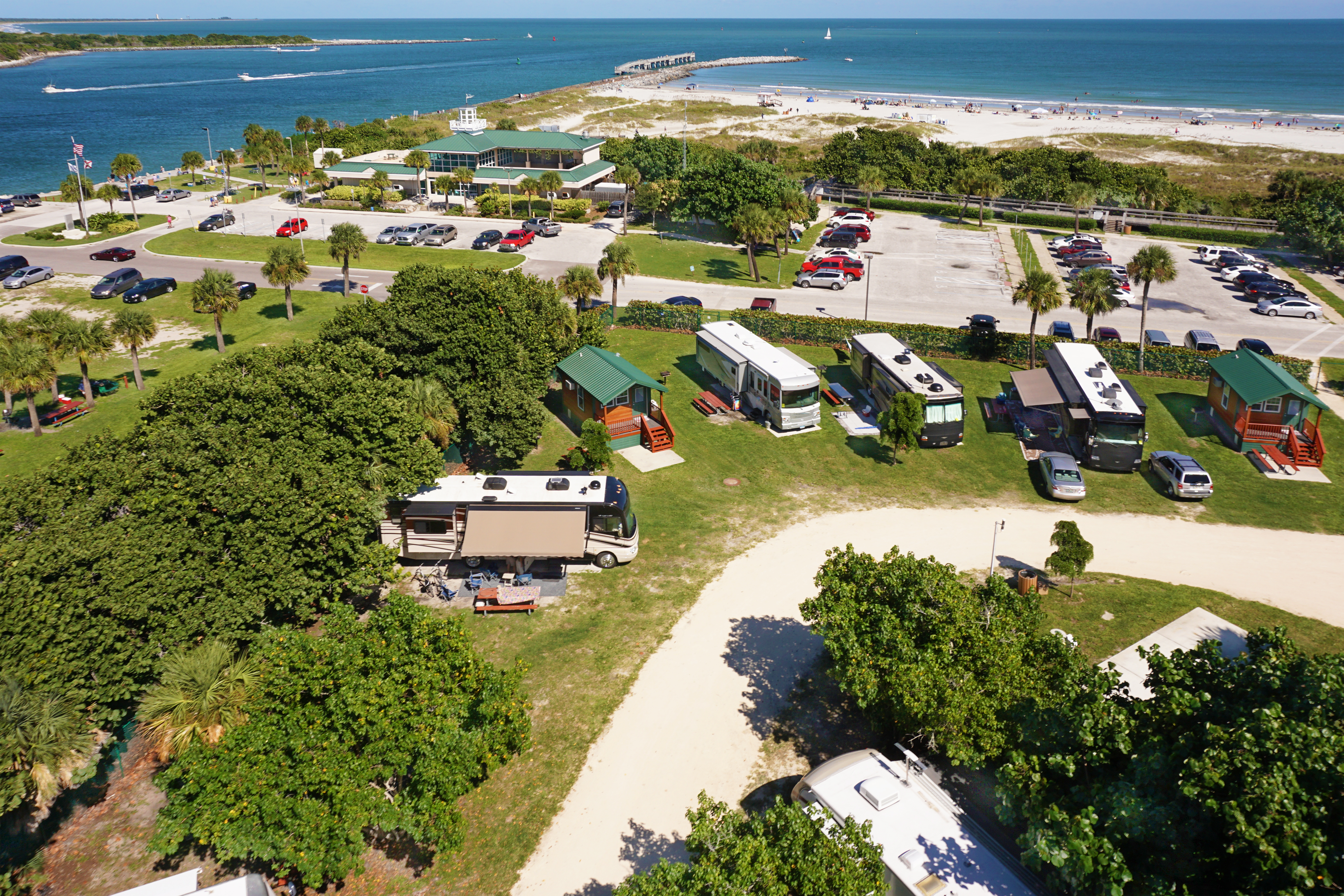 Cabins and RVs near the beach