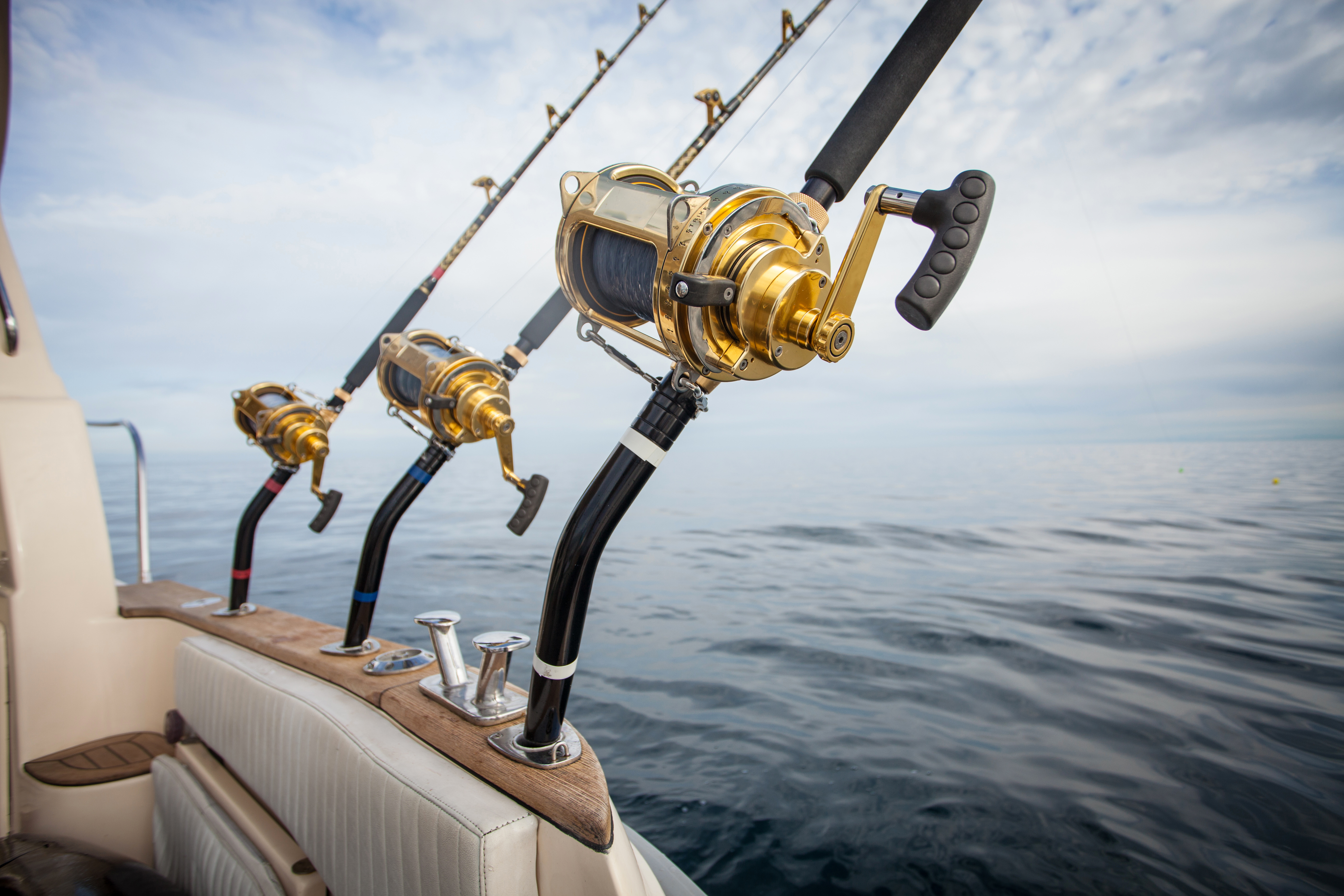 Fishing reels on an offshore charter