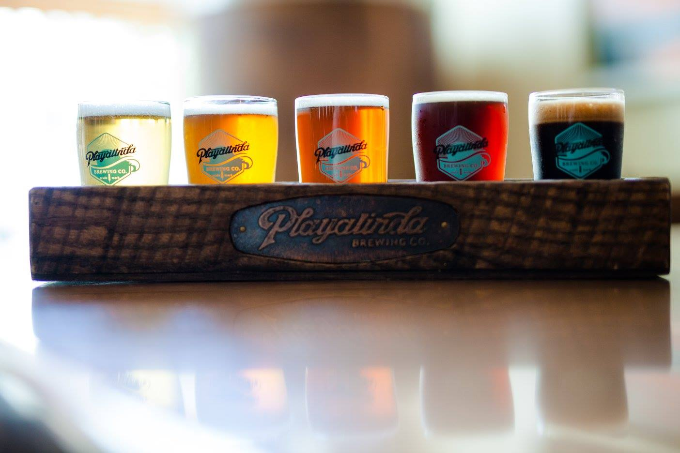 flight of beers at Playlinda Brewing Co