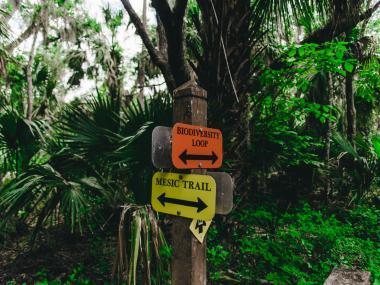 Signs on a nature trail in Titusville, FL