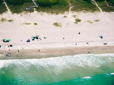 Aerial view of the coastline on the beaches of Florida's Space Coast