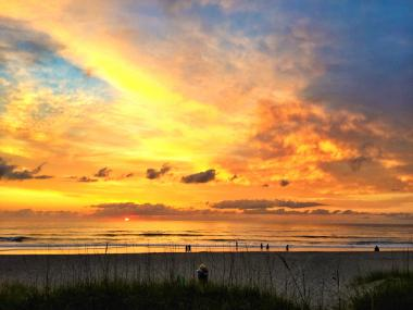 Beautiful morning sunrise on the beach over the Atlantic Ocean on Florida's Space Coast