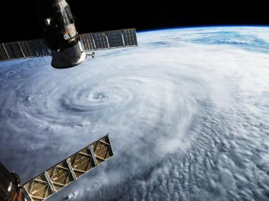 An aerial view of Hurricane Dorian from the International Space Station