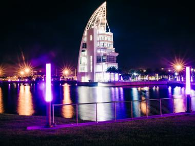 Night time view of the Exploration Tower in Port Canaveral
