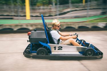 Riding Go Carts at Andretti Thrill Park in Melbourne, FL