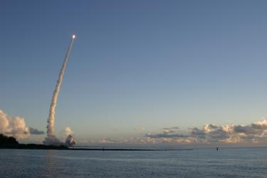 Dawn rocket launch at Jetty Park