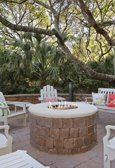 Outdoor seating and fire pit at the Courtyard by Marriott Cocoa Beach