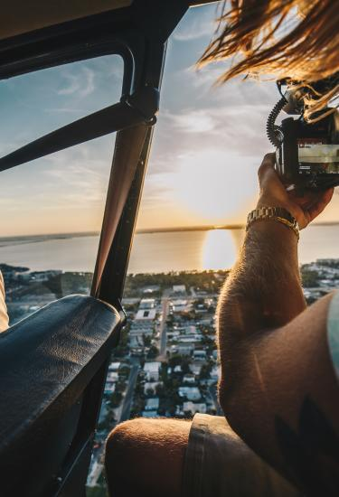A sunset view from a helicopter tour in Cocoa Beach, FL