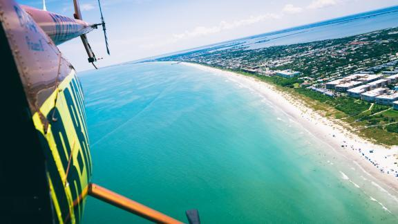 Aerial view of Cocoa Beach from a helicopter tour