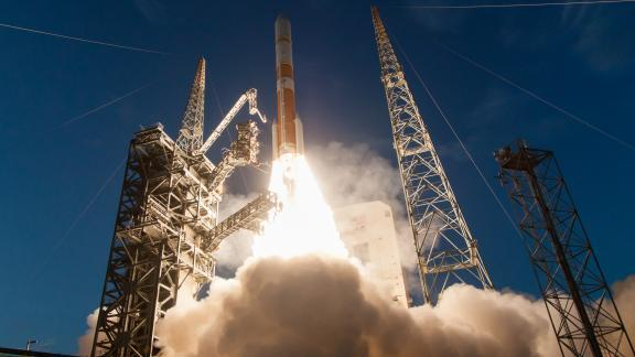 A United Launch Alliance Delta rocket launches from Kennedy Space Center