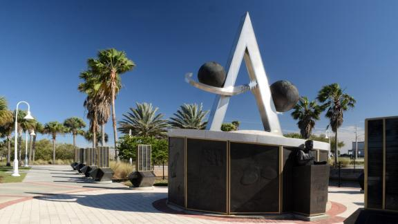 The Project Apollo Monument at the US Space Walk of Fame in Titusville, FL