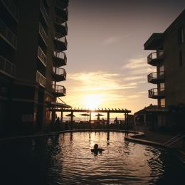 Sunrise from the pool at the Crowne Plaza in Melbourne Beach