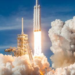 A SpaceX Falcon Heavy rocket launch from Florida's Space Coast