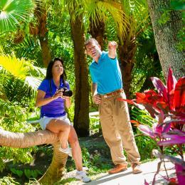 A couple enjoys the botanical gardens at the Florida Institute of Technology in Melbourne, FL