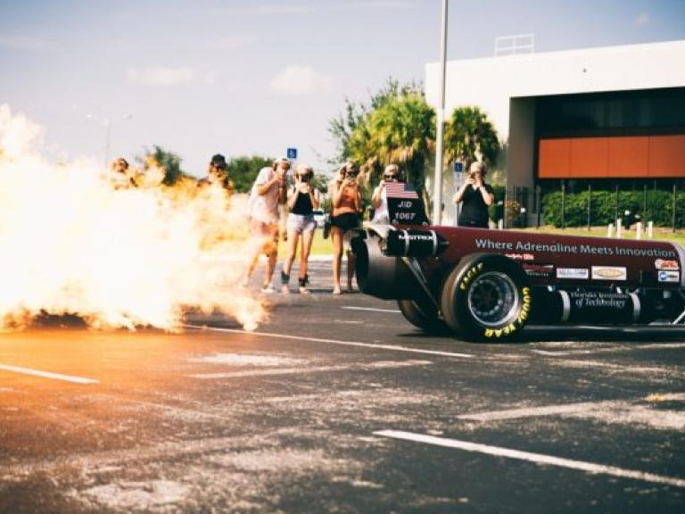 See fire erupt from the engine of a jet engine race car at Larsen Motorsports in Palm Bay, FL