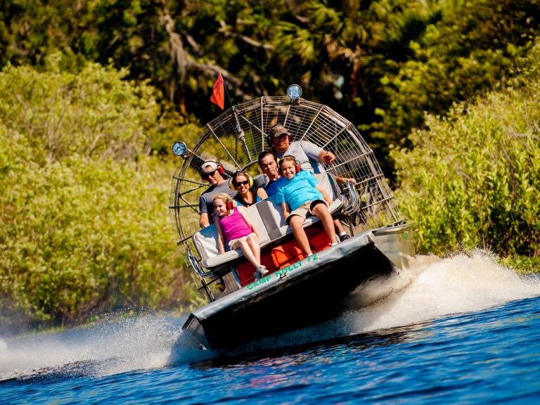 Airboat rides in the St. Johns River in Titusville, FL