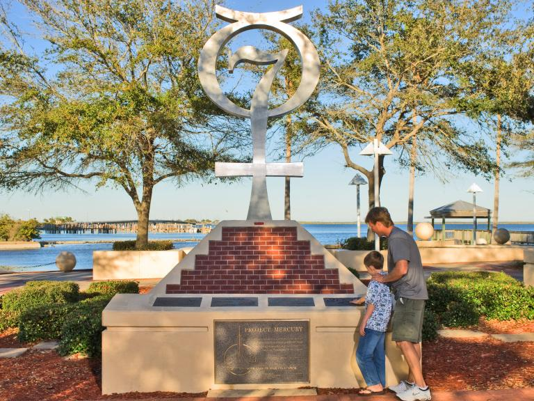 The Project Mercury monument at the American Space Walk of Fame in Titusville, FL
