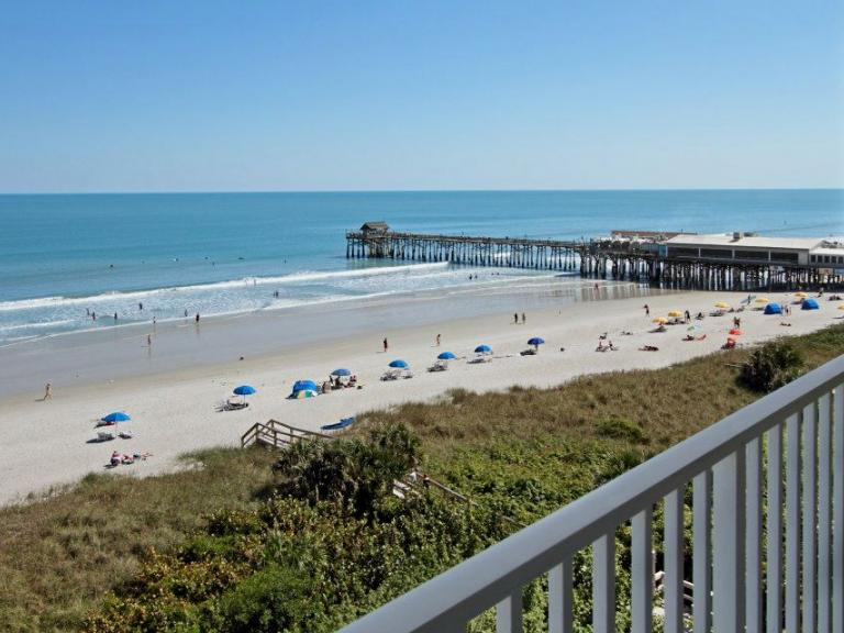 A beachfront view of the Cocoa Beach Pier from the balcony at the Best Western in Cocoa Beach