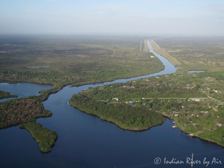 Aerial view of the C-54 Canal in Palm Bay, FL - photo credit Indian River by Air