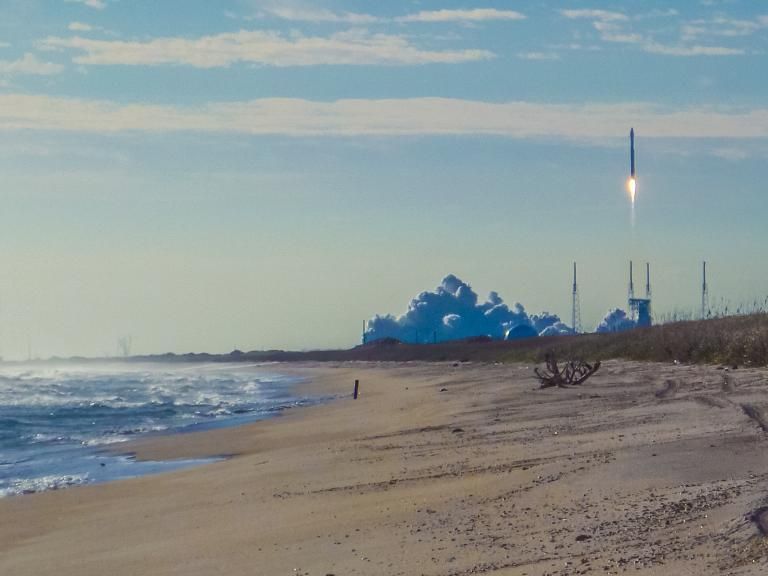 Viewing a rocket launch from the Canaveral National Seashore