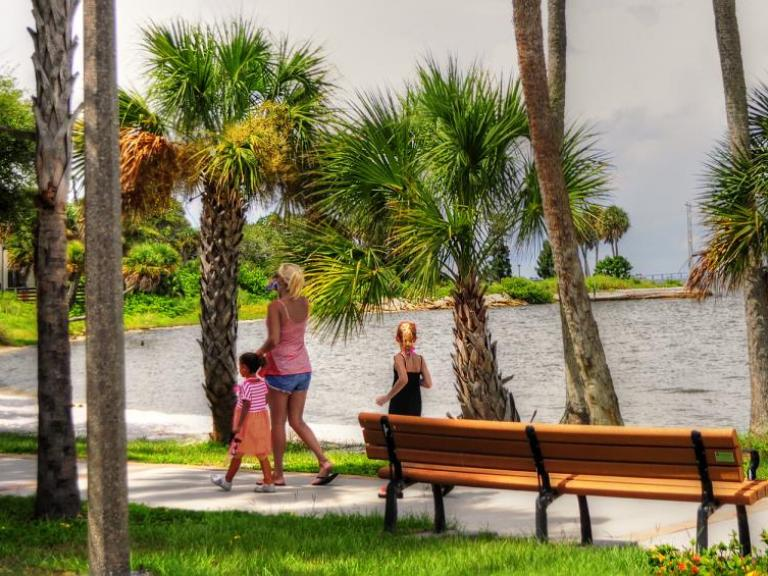Waterfront views at Castaways Point Park in Palm Bay, FL
