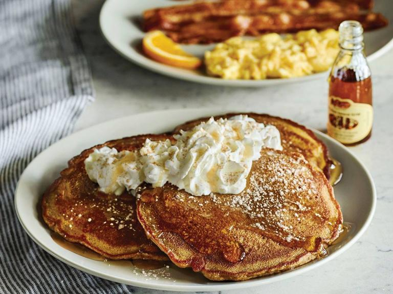 Pancakes for breakfast at Cracker Barrel in Palm Bay, FL