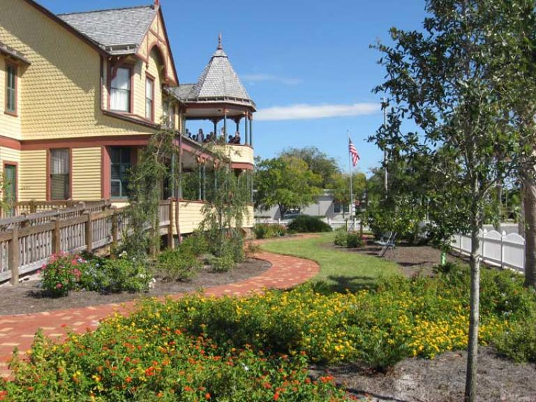 The gardens at the Historic Pritchard House in Titusville, FL