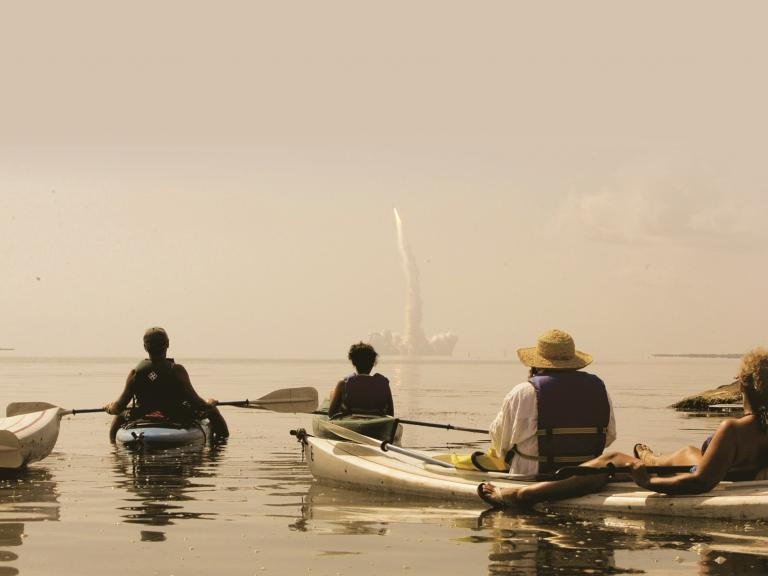 A kayak tour is one of the most unique ways to view a rocket launch