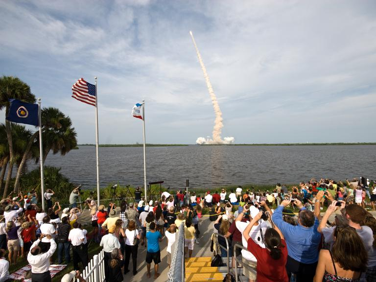 Viewing a rocket launch across the river at Space View Park in Titusville, FL
