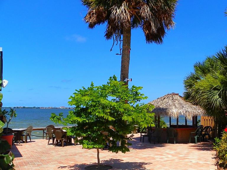 A waterfront view on the patio at The Shack Seafood Restaurant in Palm Bay, FL