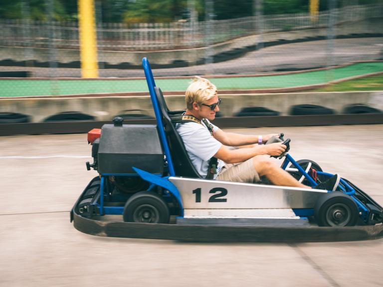 Riding go-carts at the Andretti Thrill Park in Melbourne, FL