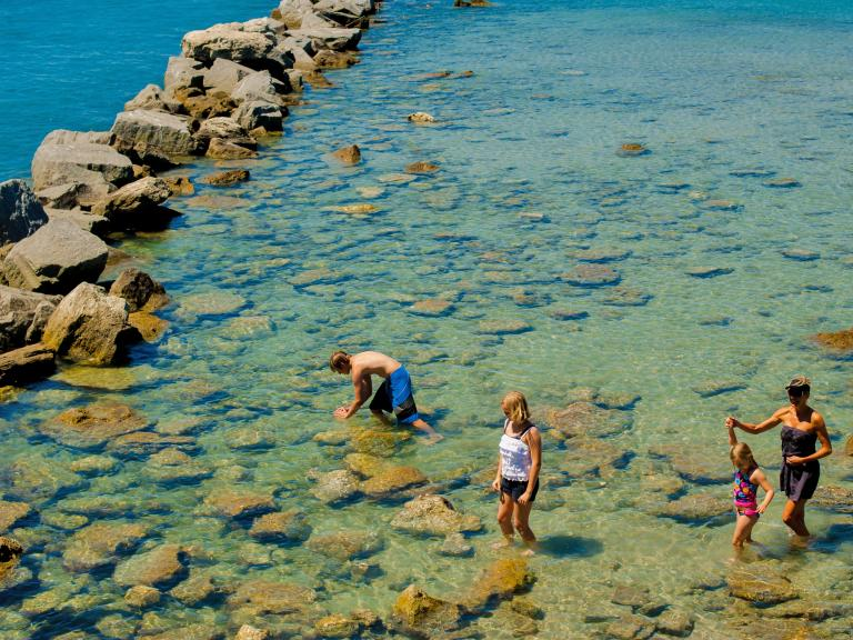 A family explores the tide pool at the Sebastian Inlet State Park