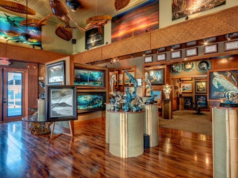 Art and sculptures inside Wyland Galleries in Port Canaveral