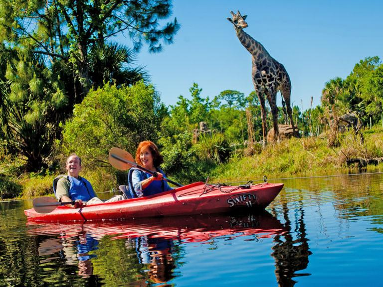 A couple sees a giraffe up close and personal on the kayak tour at the Brevard Zoo in Viera, FL