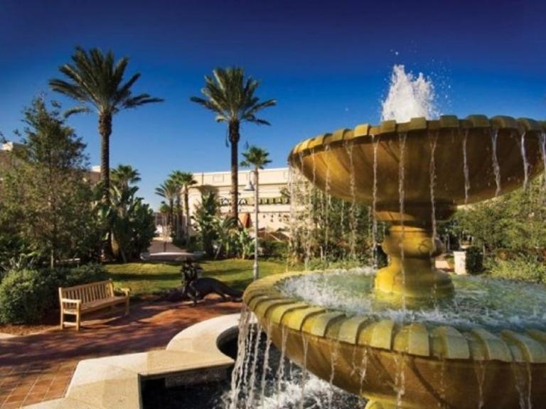 A fountain in the main courtyard of the The Avenue Viera shopping center in Viera, FL