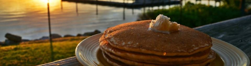 Grills Riverside Melbourne Pancakes Overlooking the Water at Sunrise