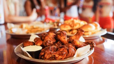 A plate of chicken wings from Hooters