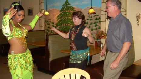 Dancing and entertainment at the Middle East Aromas restaurant