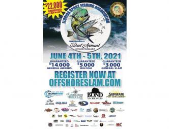 Florida Sport Fishing Association 52nd Annual Off Shore Tournament poster with June 4th and 5th 2021 dates