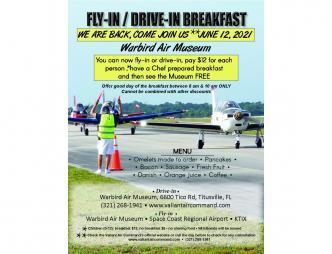 Fly-In/ Drive-In Breakfast Flyer with Menu of omelets, pancakes, bacon, sausage, fresh fruit, danish, orange juice, etc.