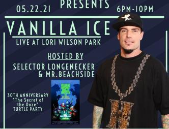 Thunder at Cocoa Beach Presents Vanilla Ice at Lori Wilson Park Flyer with May 22, 2021 show date