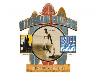 2021 Waterman's Challenge 20th Anniversary Poster presented by the Florida Surf Museum with June 5th and 6th dates