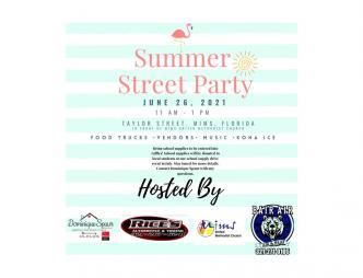 2021 Mims Summer Street Party Flyer with sponsors