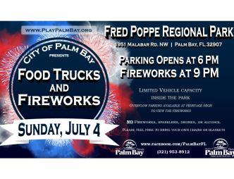 2021 Food Trucks and Fireworks in Palm Bay poster