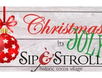 Christmas in July Sip and Stroll Logo banner