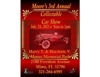 Moore's 3rd Annual Collectable Car Show Poster with times and location