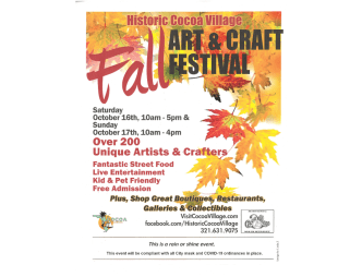 2021 Cocoa Village Fall Art and Craft Festival Flyer