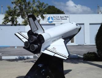 A model space shuttle outside the American Space Museum & Space Walk of Fame