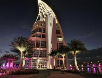 Exploration Tower Exterior Nighttime View