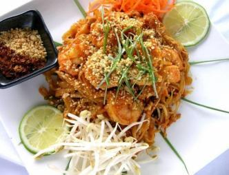 Bean Sprout Asian Cuisine Thai Noodles and Shrimp Dish